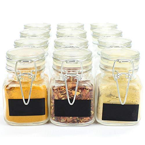 Maison & White Barattoli di vetro con chiusura a clip mini | Preservare Jam Spice | Bomboniere Regalo di compleanno | Contenitori decorativi | Con etichette nere GRATUITE e penna bianca per gesso | 12