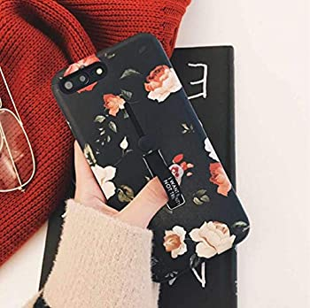 iPhone 6 Plus Case iPhone 6s Plus Case Finger Grip,3D Embossed Flowers Design Rugged Shockproof Slim Fit Dual Layer Finger Ring Loop Strap Case Finger Strap for iPhone 6 Plus 5.5inch - Red Flowers