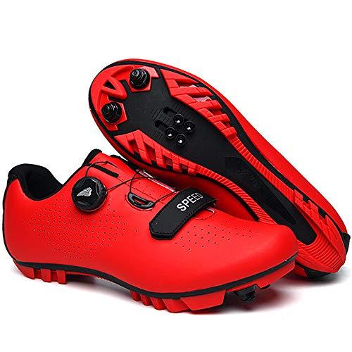 ZRZJBX Zapatillas De Ciclismo Transpirables con Almohadilla Interior Suave para Ciclismo De Montaña Bicicletas,Red-39
