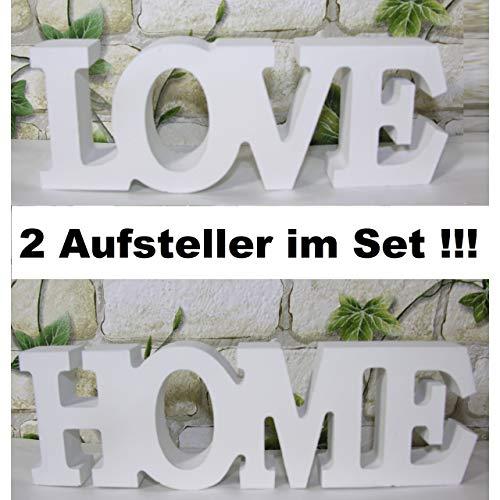 Koi Schriftzug Home und Love Set Buchstaben Holz Schild Aufsteller Shabby Deko weiß