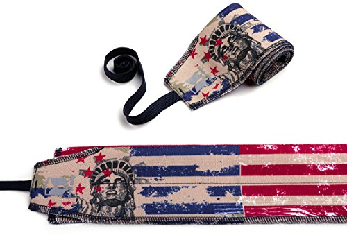 Crossfit Wrist Wraps-Strength Wraps-WOD Weightlifting Wrist wraps Straps Gym Training support,Workout-Powerlifting-Bodybuilding-Women & Men-One Size Fits All- ONE PAIR (American Flag)