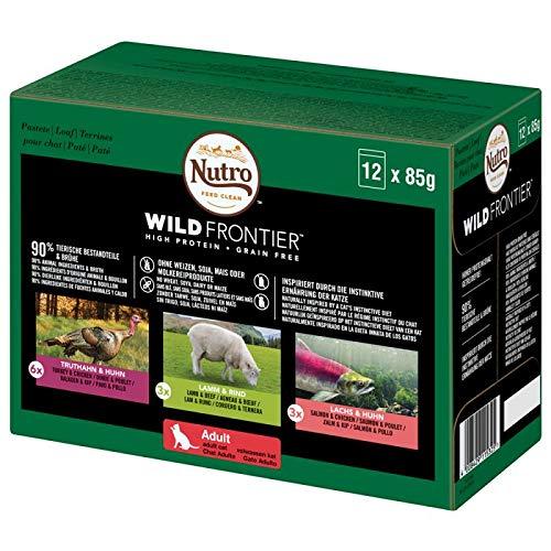 NUTRO Katzenfutter Nassfutter Wild Frontier Adult 1+ Auswahlin Pastete, 48 Portionsbeutel (4 x 12 x 85g)
