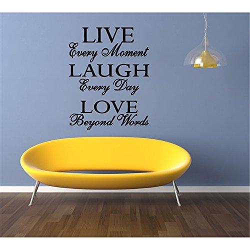 motivierende Wandaufkleber Zitate Leben jeden Moment Lachen jeden Tag Liebe über Word hinaus