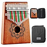 Kithouse Kalimba Thumb Piano 17 Keys Set with Mandala Pattern, Wooden Mbira Finger Piano Gifts African Music Instrument for Kids and Adults Beginners - Include Kalimba Case, Music Book, Tuning Hammer