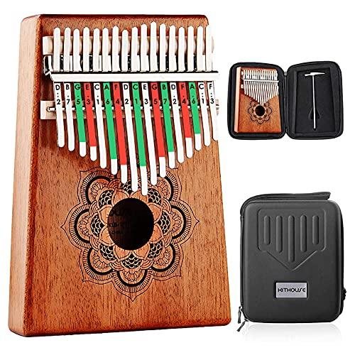 Kithouse Kalimba Thumb Piano 17 Keys Set with Mandala Pattern, Wooden Mbira Finger Piano Gifts African Music Instrument for Kids and Adults...