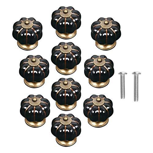 Lacyan 10 Pomos de Cerámica Calabaza Pomo de Cerámica para Cajones y Armarios negro