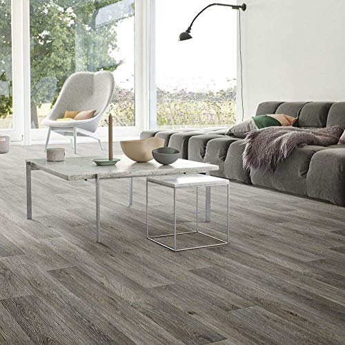 Grey Wood Effect Cushion Vinyl Flooring Sheet Atlas Nimes 594 Kitchen & Bathroom Extra Thick Lino - Multiple Sizes Available (2.5m x 2m)