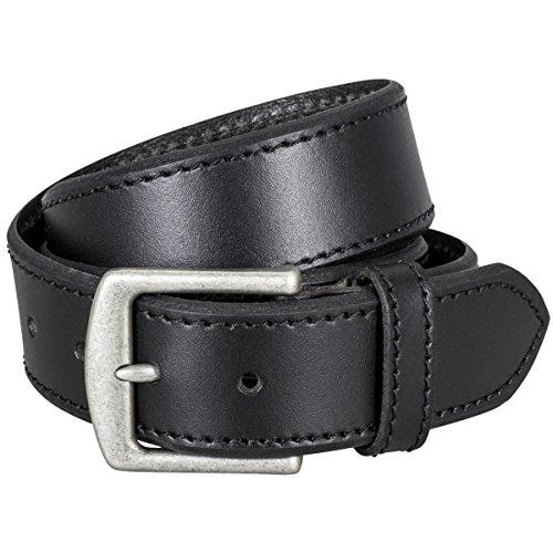 LINDENMANN Ledergürtel Herren/Gürtel Herren, Vollrindleder gesteppt, schwarz, Größe/Size:110, Farbe/Color:schwarz