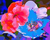 Pintura al óleo por números kit Pintura por números para adultos o niños al Pintura por números Arte decoración del hogar -Flores rojas y azules 40 x 50 cm sin marco