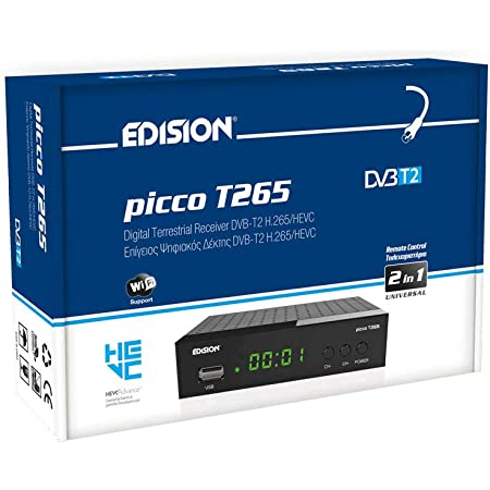 Edision PICCO T265, Full High Definition DVB-T2, H265 HEVC 10 Bit ricevitore digitale terrestre, WiFi Supporto, telecomando universale 2 in 1 per il ricevitore e la TV