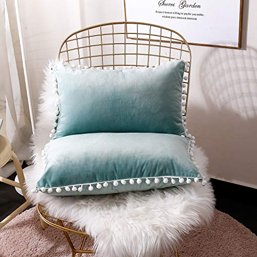 FabThing Cushion Covers Velvet Decorative Throw Pillow Covers Square Pillowcase Solid Color Ball for Sofa Home Bedroom Set of 2,12x20 Inch Water Green