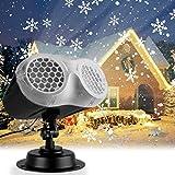 IREGRO Luces de Proyector Navidad,Copos de Nieve Luz de nevadas Navidad Impermeable LED Exterior Decoración Luz de Proyector con Control Remoto Patrón para Regalos,Fiesta,Festivos,Navidad,Boda