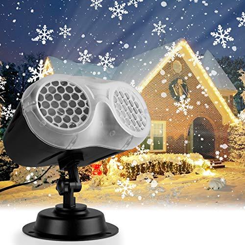 IREGRO Proiettore Luci Natale LED Natalizia, Binocular Snowflake Projection Lamp, Waterproof Snow Flurries Landscape Spotlight con Telecomando per Natale, Matrimonio, Compleanno, Festa, Giardino