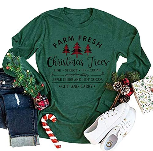 Farm Fresh Christmas Plaid Trees T-Shirt for Women Funny Letter Print Casual Long Sleeve Graphic Tee Tops (Green, X-Large)