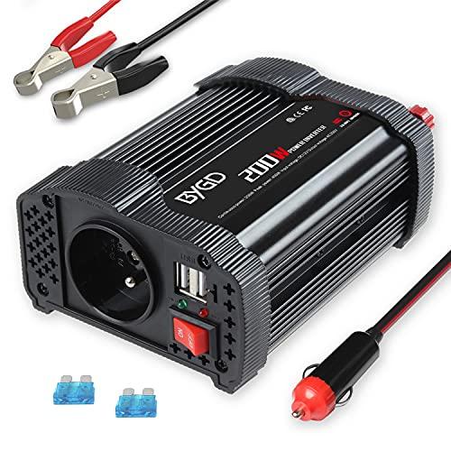 BYGD 200W   400W onduleur de Voiture 12V DC à 220V 230V convertisseur ca avec 3.1A Double Adaptateur de Chargeur de Voiture Rapide USB
