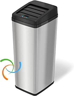 iTouchless 14 Gallon Sliding Lid Touchless Sensor Trash Can with Odor Control System, 53 Liter Automatic Garbage Bin for K...