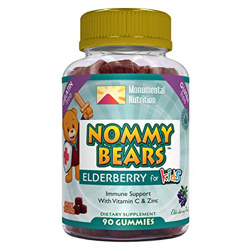 Nommy Bears Elderberry Immune Support, Vitamin C & Zinc for Kids, Children, Teens, Adults, Gelatin Free, Vegetarian, Vegan-Friendly, Large 90 ct (3 Months Supply), Sambucus, Halal/Kosher Friendly