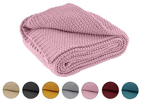 Kuscheldecke Strick 140x190 cm rosa - Strickdecke OekoTex warme weiche Decke mit edlem und schlichten Strickmuster