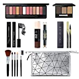 All in One Makeup Kit, Includes 12 Colors Eyeshadow Palette, 5PCS Brush Set, 3 Colors Eyebrow Powder, Waterproof Black Eyeliner & Mascara, Magic Contour Stick With Cosmetic Bag Makeup Set