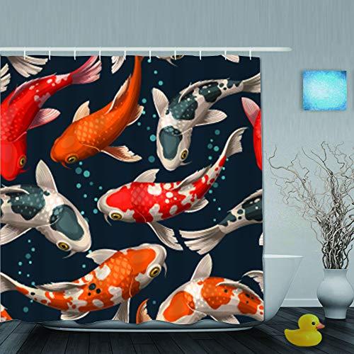 SUHOM Duschvorhang,Nahtlose japanische Koi-Karpfen,personalisierte Deko Badezimmer Vorhang,mit Haken,180 * 180