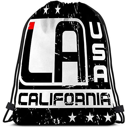 BOUIA Casual Trekkoord Tas Typografie Los Angeles Californië Atletische Stijl La Stijlvolle Print Embleem Sport slijtage Sjabloon