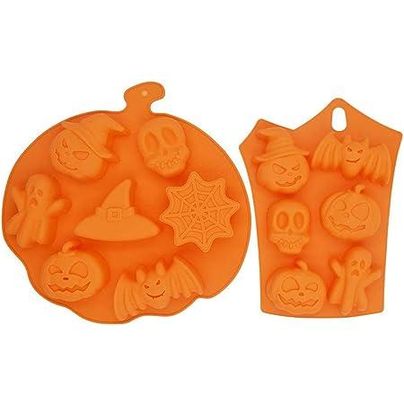 5 pi/èces Halloween Silicone moules de cuisson citrouille fant/ôme chauve-souris cr/âne fant/ôme en forme de bonbons moules en silicone