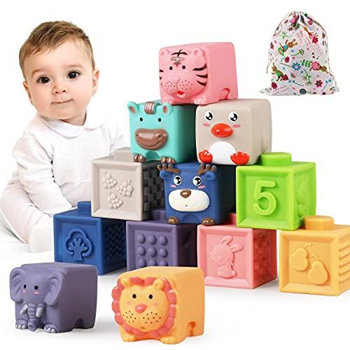 Luclay Bloques Apilables para Bebés 6 Meses 1 2 3 4 años ,Cubos Juguetes Bebe para Masticar la Dentición Juguetes Educativos para el Baño del Bebé Juegue con números, Formas, Animales