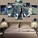 BAOZU Beautiful 5 Pieces Canvas Wall Art The Beatles Walking Abbey Road Paintings Hd Posters Print On Canvas House Decor Stretched and Framed Ready to Hang for Living Room-100 X 55 cm