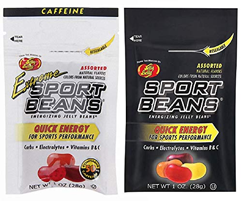 Jelly Belly Sport Beans - Assorted and Extreme Assorted with Caffeine – Energy Chews [12 Pack] Energizing Jelly Beans-Click for More Sizes