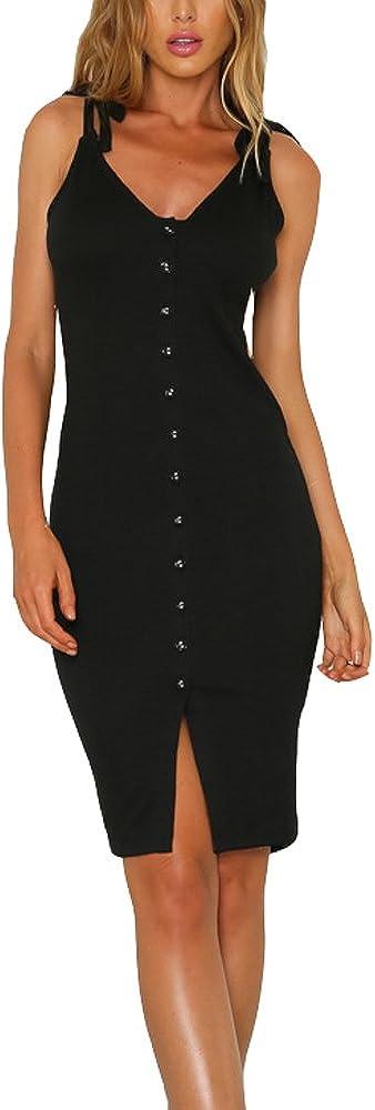 Eliacher Women's Button Down Adjustable Straps Summer Dress Sleeveless Bodycon Party Dresses