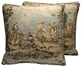 A set of 2 18' French Country Bosporus Flax Seafoam Green Tan Toile Pattern Handmade Decorative Throw Pillows Covers