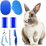 Hzran 6 Pieces Rabbit Grooming Kit, Pet Hair Remover, Rabbit Grooming Brush, Shampoo Bath Brush, Small Animal Nail Clippers and Trimmers, Pet Comb Grooming Set for Rabbit, Hamster, Bunny, Guinea Pig