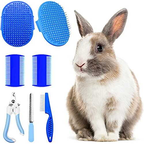 Hzran 6 Pieces Rabbit Grooming Kit, Pet Hair Remover, Rabbit Grooming Brush, Shampoo Bath Brush,...