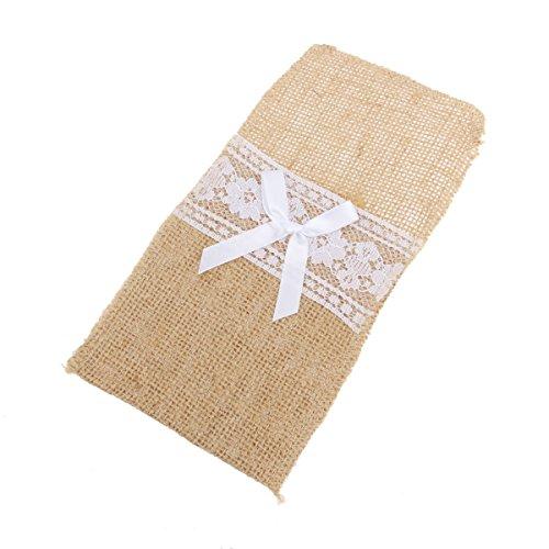 VORCOOL - Bolsa de Tela con Lazo para Cubiertos y Tenedor de arpillera con Lazo para decoración de Bodas (Tipo 2)