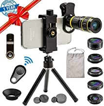 Cell Phone Camera Lens Kit, SEVENKA 18X Zoom Telephoto Lens with Remote Shutter, Tripod, Fisheye, Macro and Wide Angle Lens for iPhone Xs Xr X 8 7 6 Plus Samsung Android Smartphone