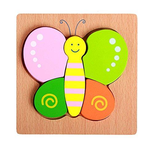 VANKER Enfants Dessin Animé Animal Design Couleurs Bloc en Bois Puzzle Jeu Jouet éducatif Papillon