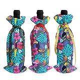 Bolsas de decoración para botellas de vino de Navidad con flores tropicales y loro, 3 unidades, para Navidad, Año Nuevo, decoración de fiestas