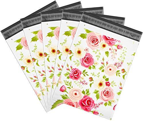 Wanxida 100pcs Sobres de Plástico de Genérico Envío por correo Bolsas Postales Poli plástico Self Seal Bolsas Artículos de Envío, Opaca, 25cm x 35cm(Flor rosa)