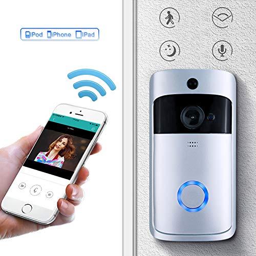 Timbre de Video inalámbrico, 1280 * 720p, Sistema de Seguridad Inteligente, cámara HD WiFi, visualización de Video en Tiempo Real/comunicación de Audio con cancelación ruidosa (Video Timbre).