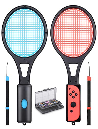Mario Tennis Racket - Tendak Tennis Racket for Nintendo Switch Joy-Con Controllers Mario Tennis Aces Game Accessories with 12 in 1 Game Card Case ( Blue and Red)