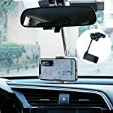 360 Rearview Mirror Phone Holder, Car Rearview Mirror Mount Phone and GPS Holder, Suitable for All 4-6.1 Inch Mobile Phones (Black)