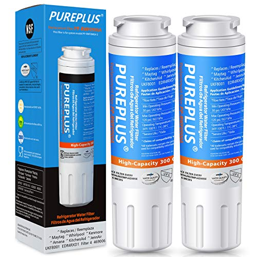 PUREPLUS UKF8001 Refrigerator Water Filter Replacement for Maytag UKF8001P, EDR4RXD1, Everydrop Filter 4, PUR 4396395, Puriclean II, UKF8001AXX-200, UKF8001AXX-750, RWF0900A, RFC0900A, 469006, 2Pack