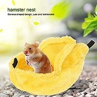 洗える小型ウォームハムスターネスト、再利用可能なバナナ型ハムスターネスト、ペットスイング用(yellow)