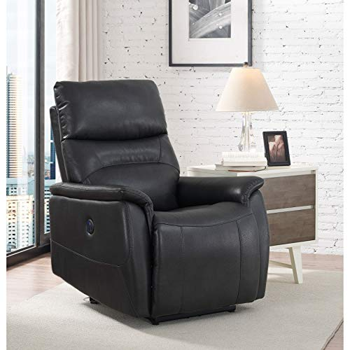 Unknown1 Roman Grey Wheeler Power Recliner Solid Modern Contemporary Leather Metal Recline