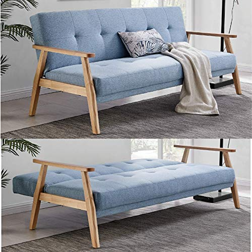 Bravich Modern Scandinavian Blue 3 Seater Sofa Bed Fabric Couch Settee Click Clack Sofa Bed With Memory...