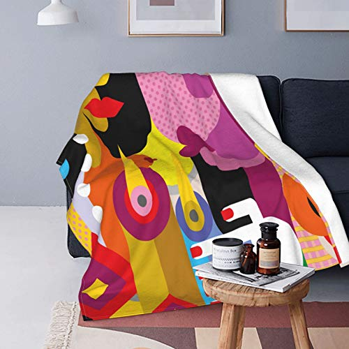 QINCO Soft Micro Fleece Throw Blanket Home Decor,Picasso Man And Woman Romantic Dinner Modern Abstract Painting People,Lightweight Couch Bed Flannel Quilt,40' x 50'