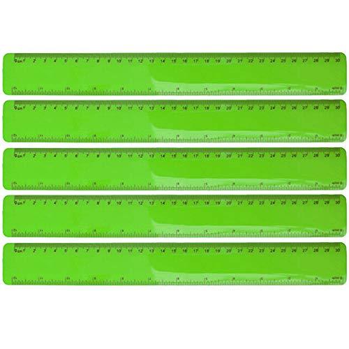 5er Set flexibles Lineal Kunststoff sechs verschiedene Farben Geometrie Messen Bürobedarf Länge 30 cm von notrash2003 (Grün)