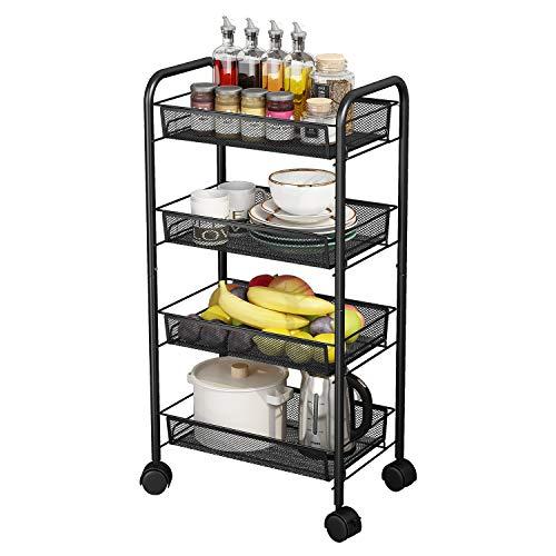 AIYAKA Carritos de almacenamiento de malla metálica de 4 niveles, carrito multifunción con ruedas, adecuado para el hogar, la...