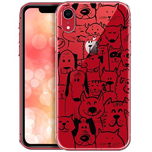 QULT Carcasa para Móvil Compatible con Funda iPhone XR Silicona Dibujos Transparente Fina Suave Bumper Teléfono Caso para iPhone XR Animales(DESECHABLE)