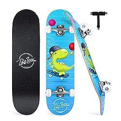 1. Beleev 31″ 7-layer Canadian Maple Dinosaur Skateboard